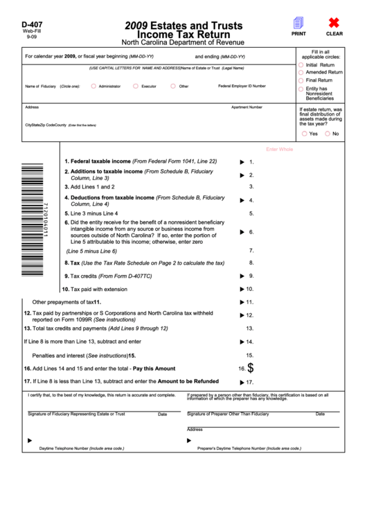 income tax return instructions 2009