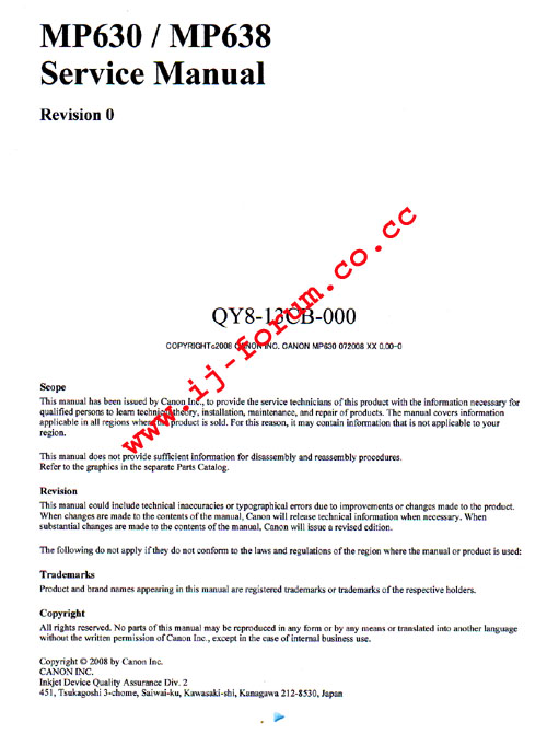 canon mp630 instruction manual